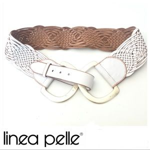 LINEA PELLE White Leather Braided Gold Buckle Belt